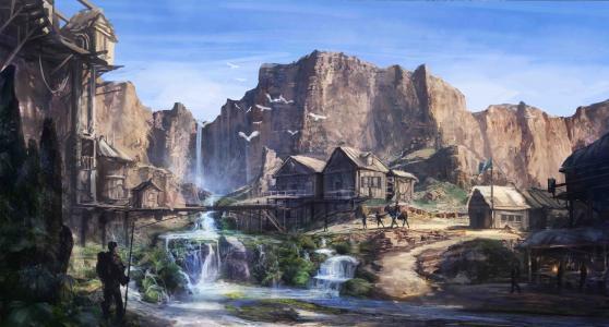 瀑布,定居点,房屋,岩石,艺术