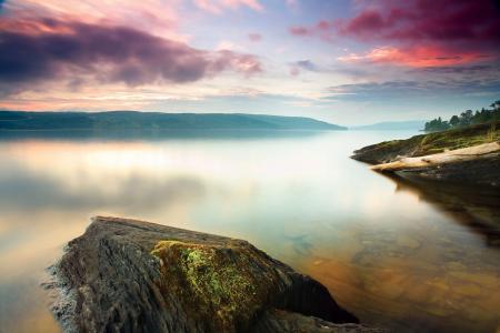 美丽的景色,风景,早晨,湖,岸,石头,Marijo Oxygene照片设计
