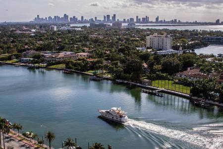水,城市,迈阿密,游艇,滑翔