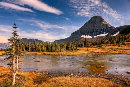 隐藏的湖,冰川国家公园,隐藏的湖泊,冰川国家公园,高山,湖泊,树木,景观