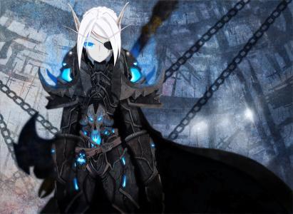 死亡骑士,链子,蓝色的眼睛,雨衣,盔甲,女孩