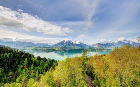 景观,山,秋,自然,湖
