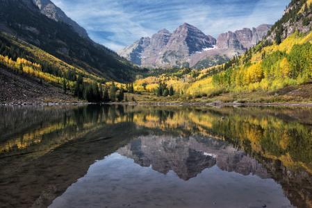 石头,湖泊,山脉,反射,森林,科罗拉多马伦贝尔斯,科罗拉多州马伦湖,栗色钟声