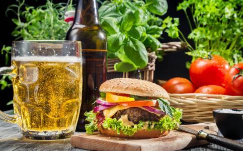 汉堡包,啤酒,番茄,玻璃,绿化