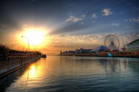 运河,摩天轮,日落