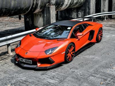 汽车,橙色,调整,兰博基尼,壁纸,aventador
