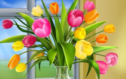 郁金香,花瓶,窗口,绘图