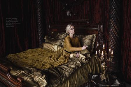 卧室,床,床,蜡烛,女人,女士,等待