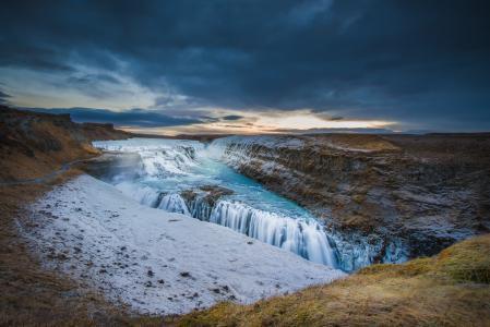 古佛斯瀑布,冰岛,Hvitau河