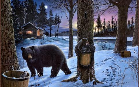 ervin molnar,熊,熊,小熊,家庭,冬天,雪,森林,房子,夜,黄昏,景观,绘画,艺术