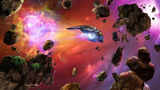 星空,幻想,在,空间,我们,不,孤独,小行星,空间,船