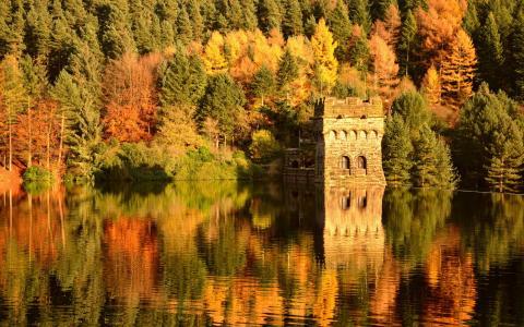 城堡,秋天,湖