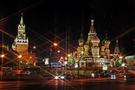 莫斯科,克里姆林宫,寺庙,夜,灯