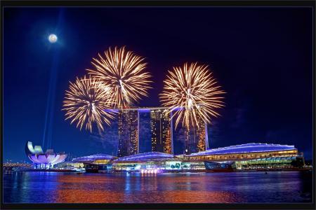 新加坡,城市,夜晚,灯光