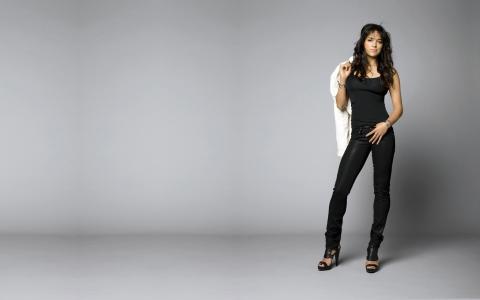 女演员,构成,米歇尔·罗德里格兹,布鲁内特,黑色,姿势,图