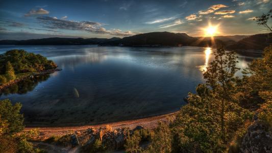 湖,日落,壁纸