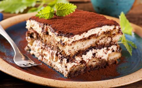 蛋糕,蛋糕,宏,可可,薄荷,板,叉,甜蜜,美味
