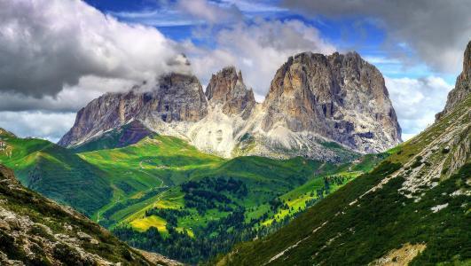 sassolungo,白云岩,意大利,山,从上面查看,景观