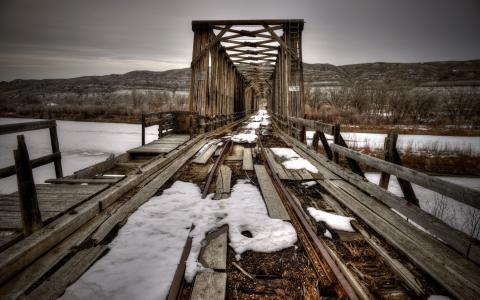 桥,河,冬天