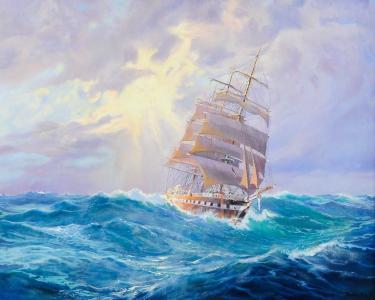 帆船,波浪,海,船,阿道夫博克