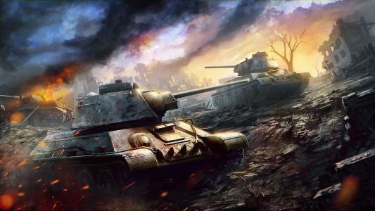 艺术,坦克世界,T-34-76,战斗,战斗