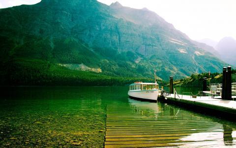 玛丽湖,冰川,国家,公园,壁纸