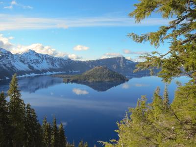 克雷特湖,美国俄勒冈州,岛,湖,火山口湖,俄勒冈州火山口湖国家公园
