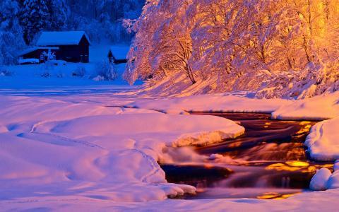冬天,流,自然,光,河,雪,晚上,晚上