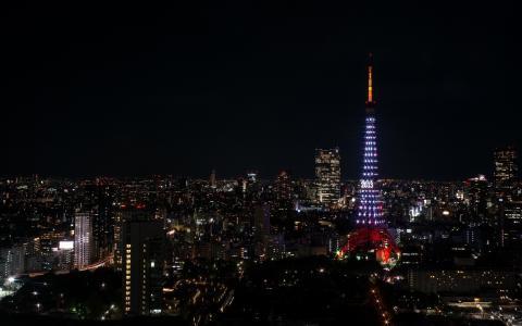 城市景观,夜晚,塔
