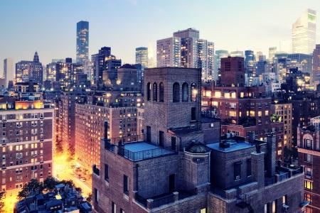 纽约,灯光,夜晚的城市,纽约,纽约,美国