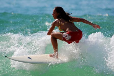 冲浪,水,板,女孩,冲浪者