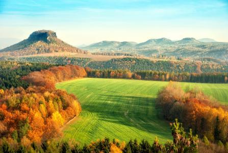 elbsandsteingebirge,景观,性质,秋,场,森林,
