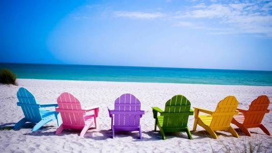 海滩,椅子,壁纸,壁纸