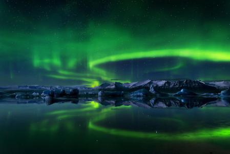 天空,冰岛,北极光