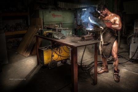 男人,裸体,围裙,焊工