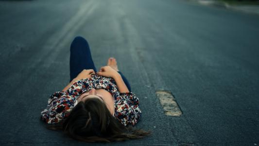 女孩,道路,沥青,公路,公路,坚实