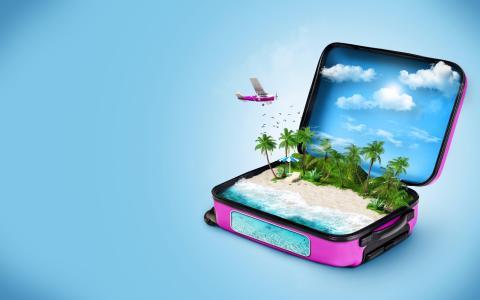 云,蓝色,鱼,鸟,海,手提箱,海滩,伞,躺椅,飞机,背景,3D,图形,休息,棕榈树