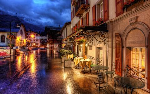 瑞士采尔马特,瑞士采尔马特,咖啡馆,餐桌,街道,道路,建筑物,房屋
