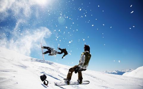 滑雪,跳跃,山,雪,滑雪板,板