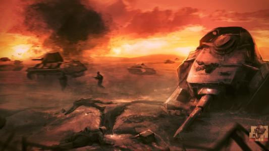 艺术,坦克世界,T-34-76,战斗,战斗,攻击,填充老虎