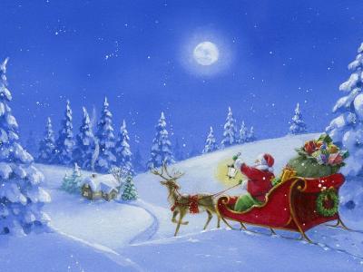 冬天,圣诞老人,圣诞节,雪橇,雪,礼物,树,绘图