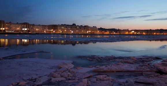 晚上,城市,河流,涅瓦河,冰,冬天
