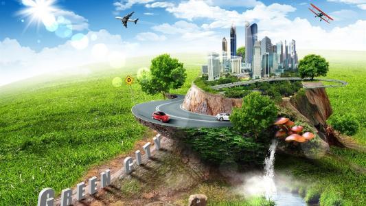 城市,图形,树桩,建筑物,飞机