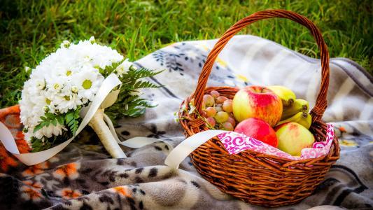 鲜花,篮子,苹果,花束