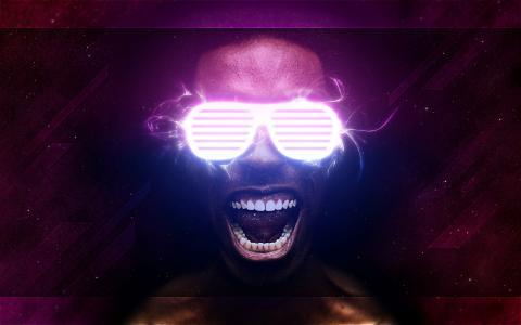 眼镜,霓虹灯,牙齿