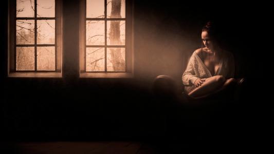 照明,女孩,悲伤,房间