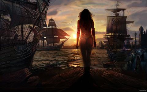 女孩,端口,船舶,日落,太阳