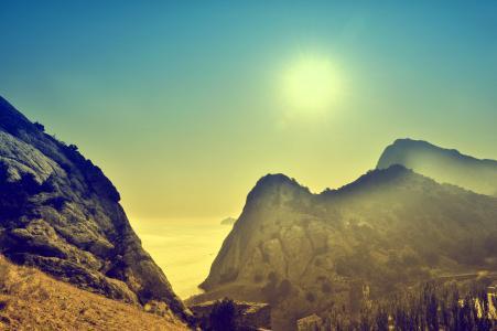 太阳,海,克里米亚,山,早上,黎明