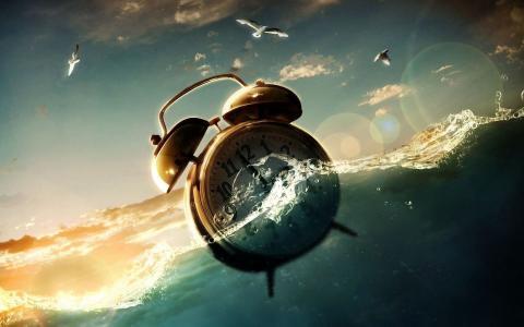 图形,水,时钟,天空,海鸥