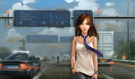 一件T恤与领带,站在被包围的道路上的女孩,汽车